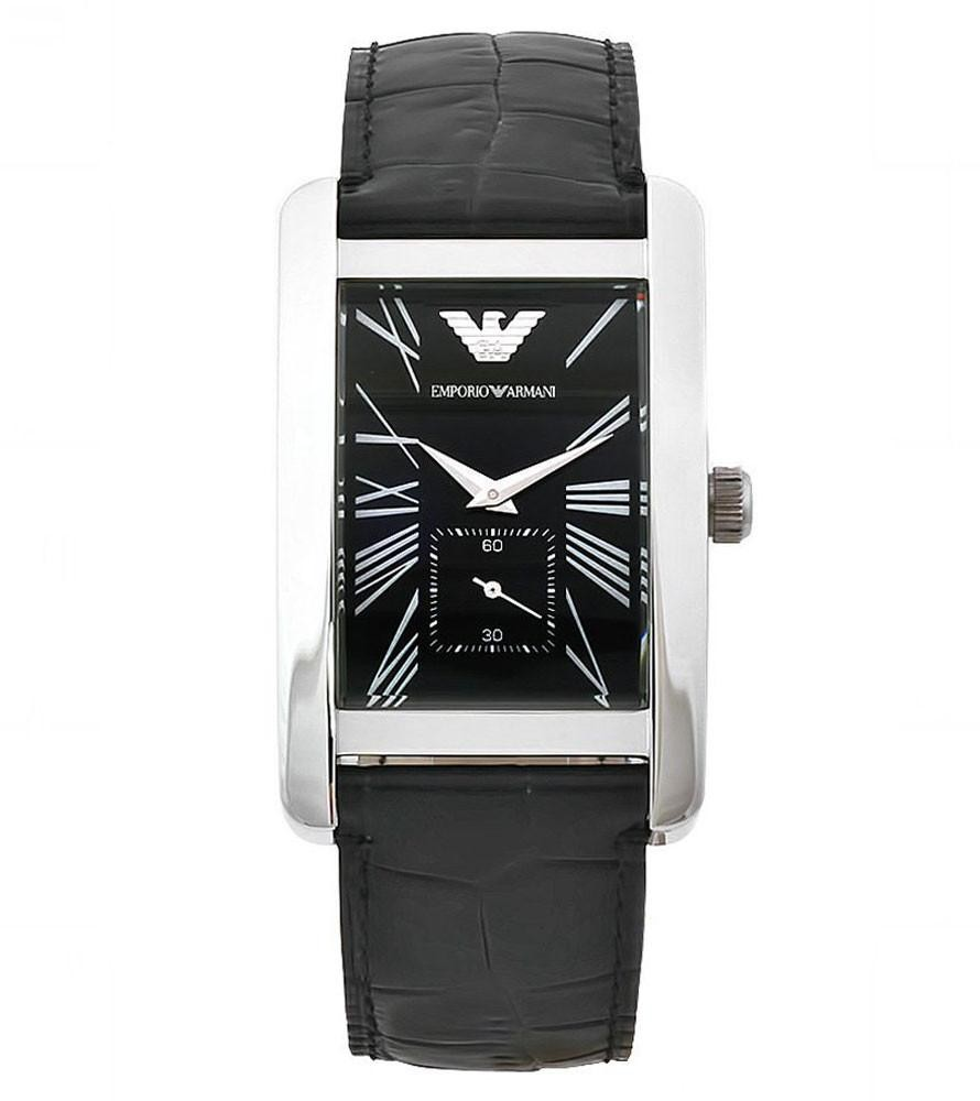 a1a091c6174 Emporio Armani Mens Black Leather Rectangle Watch AR0143