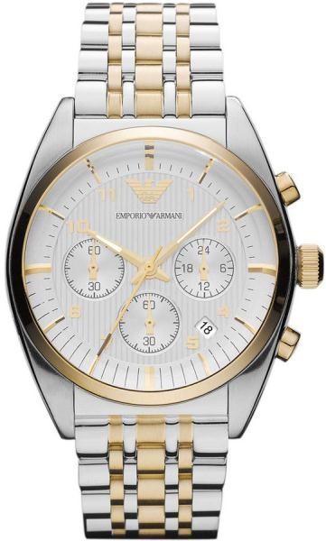 Emporio Armani Mens Gold   Silver Chronograph Watch AR0396 6ea7c0ec72d1