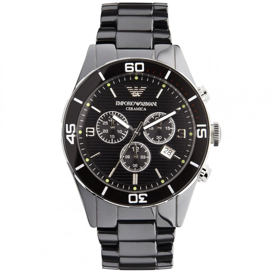 Emporio Armani Mens Black Ceramic Chrono Watch AR1421