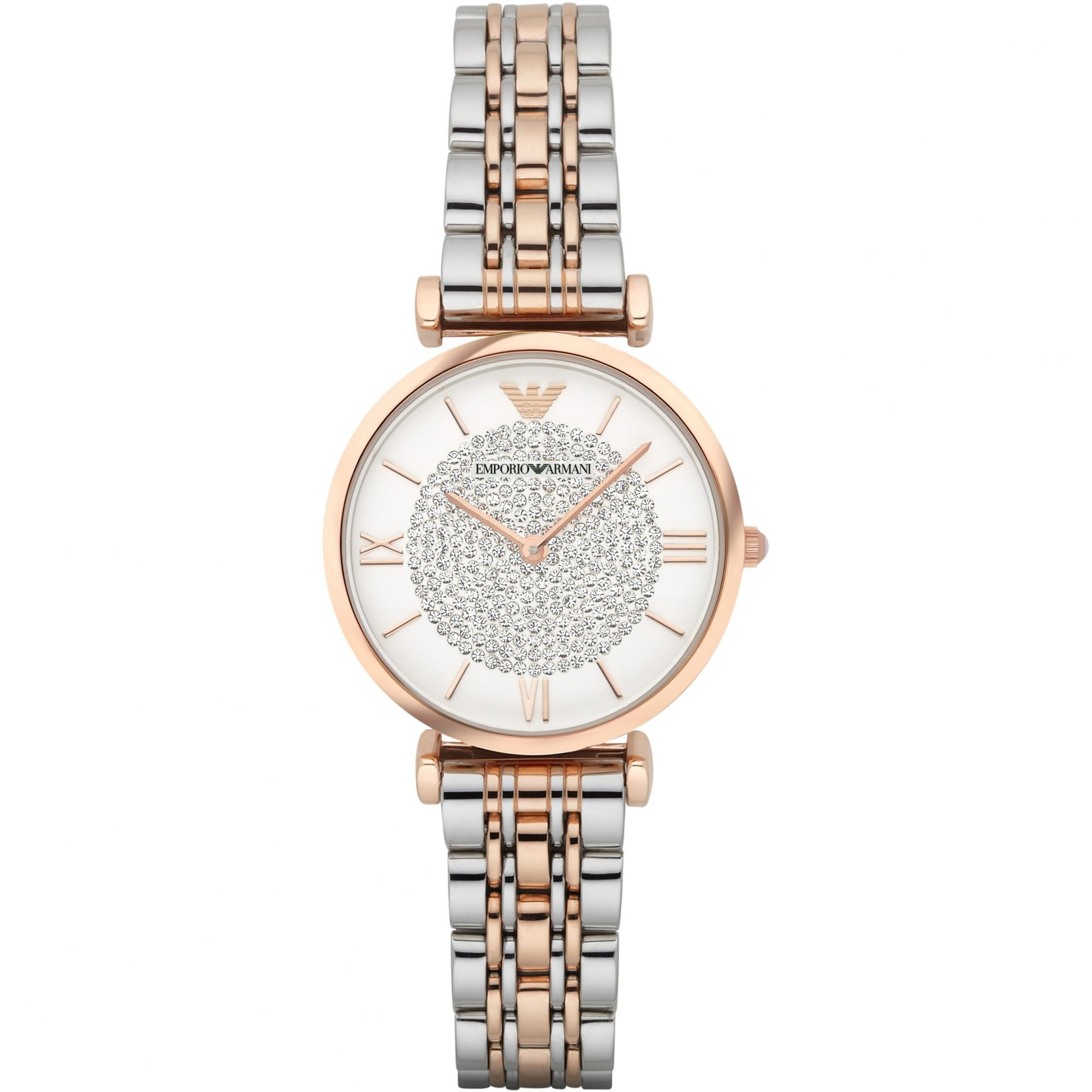 Emporio Armani Slim Ladies Silver & Rose Gold Watch AR1926
