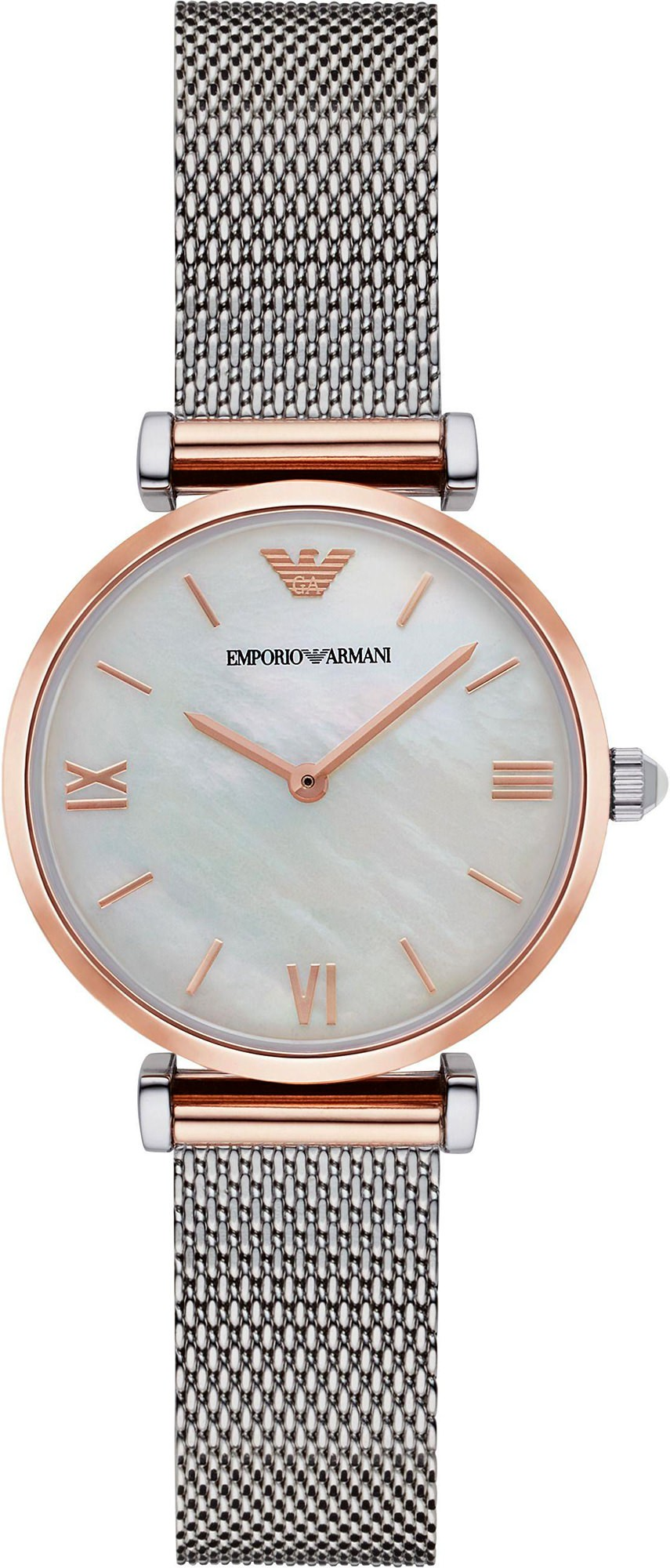 e65d658d1dd9 Emporio Armani Ladies Slim Rose Gold   Silver Mesh Watch AR2067