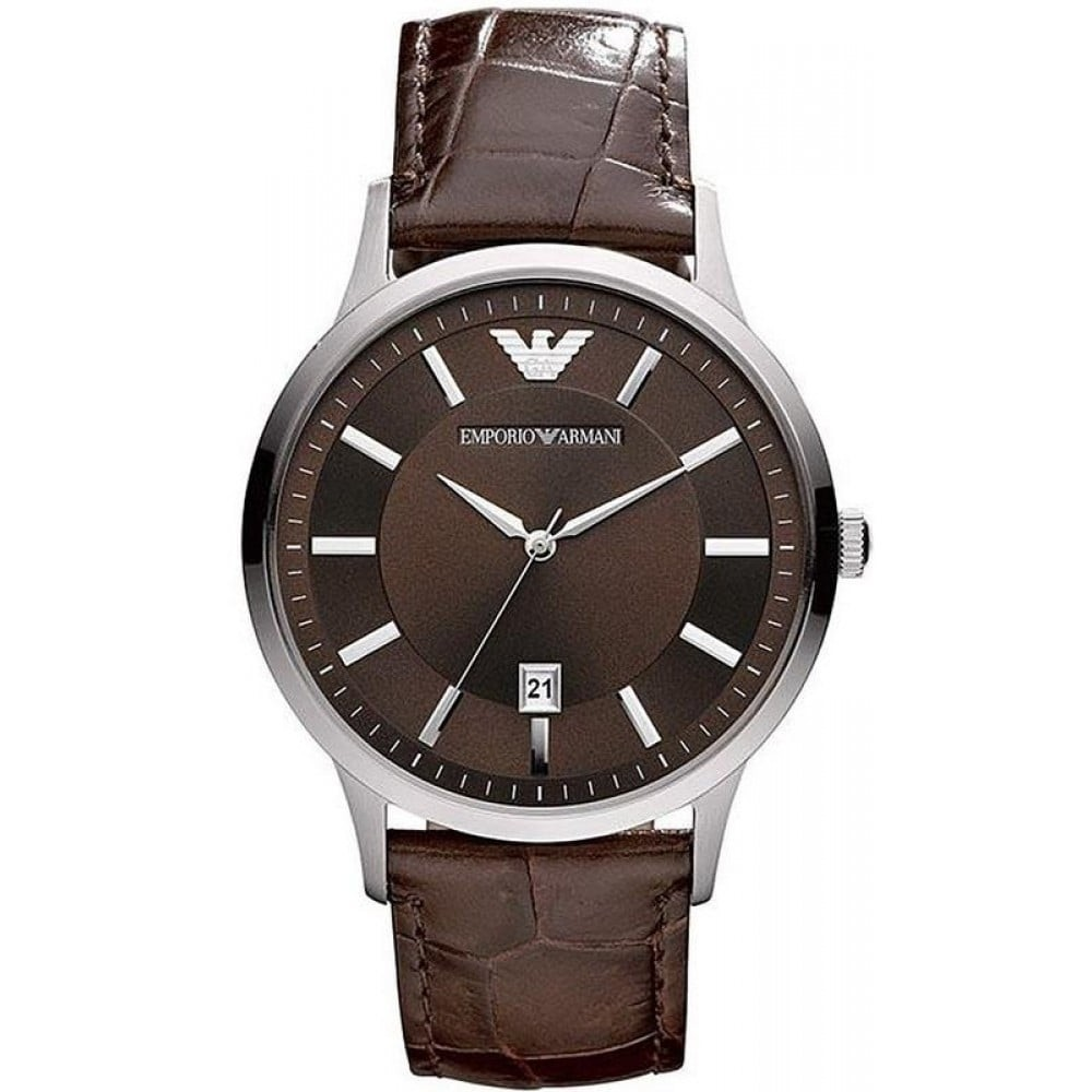 f75ac5af Emporio Armani Mens Simple Brown Leather watch AR2413