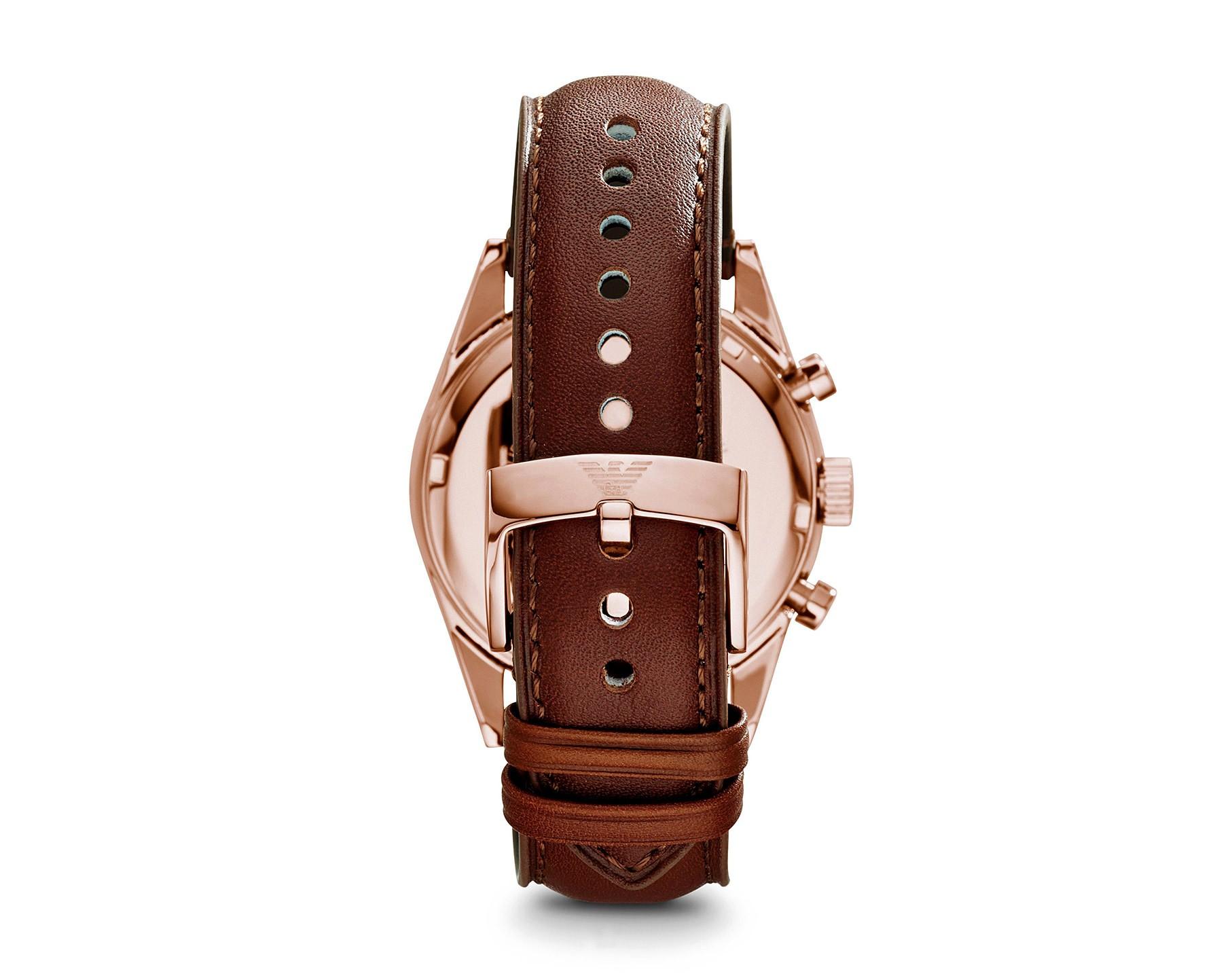 91cde09f6 Emporio Armani Mens Brown Leather Watch AR5995