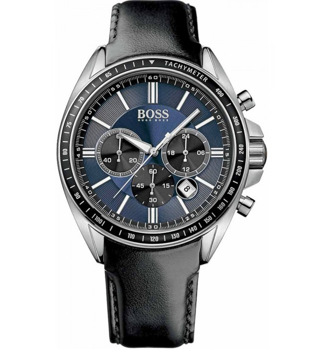 Hugo Boss Mens Black Leather, Blue Dial Watch 1513077