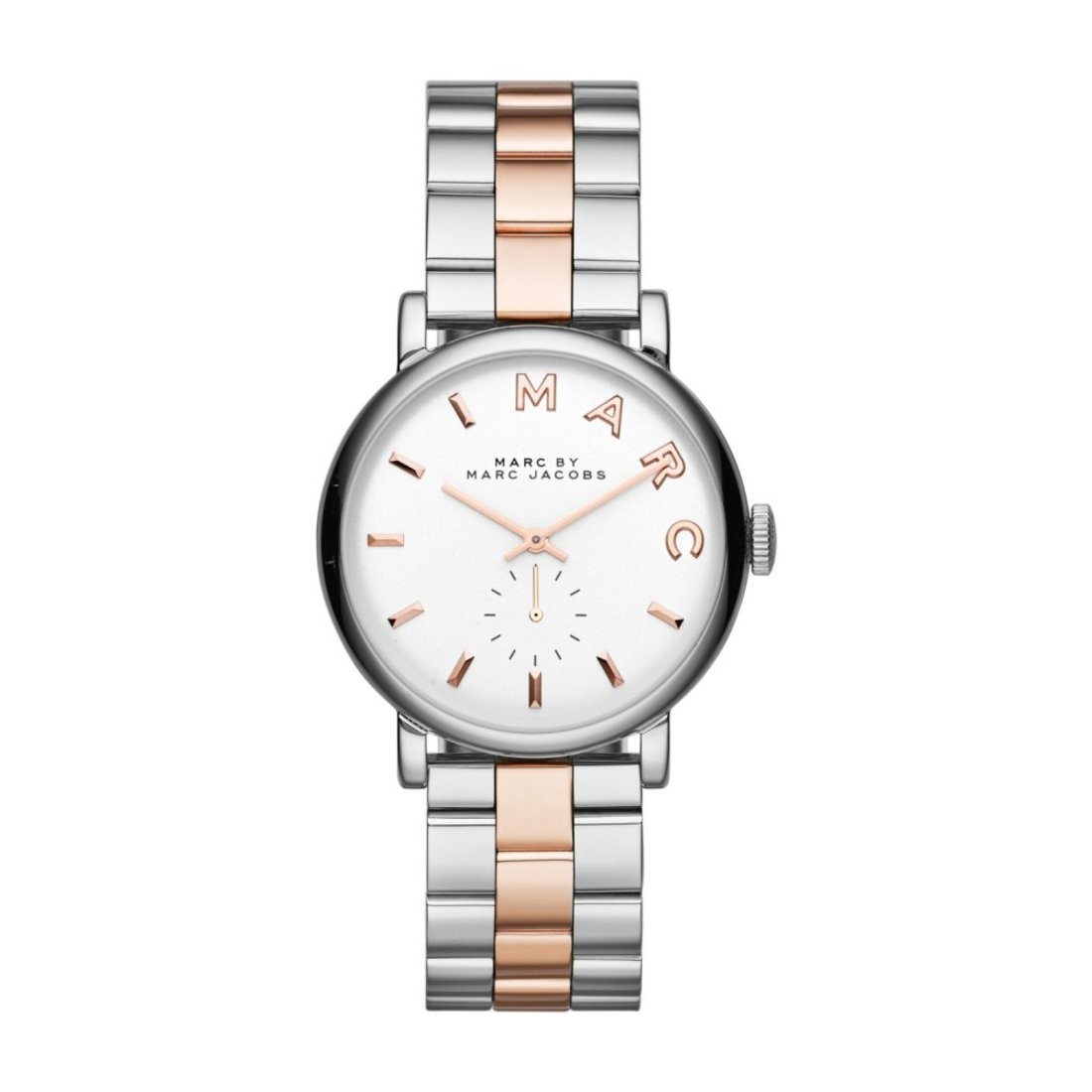 Marc Jacobs Ladies Silver Rose Gold Baker Watch Mbm3312
