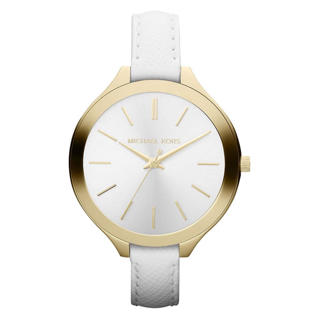 Michael Kors Ladies Slim Runway White & Gold Watch MK2273