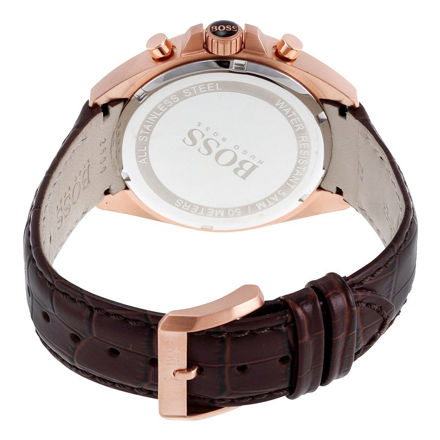 Hugo Boss Mens 1513093 Rose Gold Brown Leather Watch