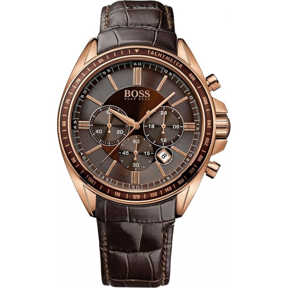 Hugo Boss Mens 1513093 Rose Gold & Brown Leather Watch
