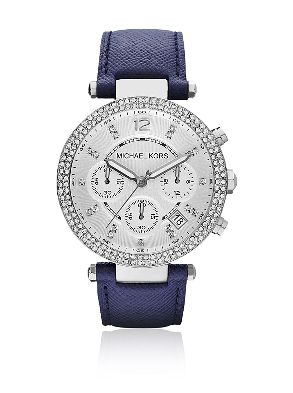 Michael Kors Ladies Blue & Silver Parker Leather Watch MK2293