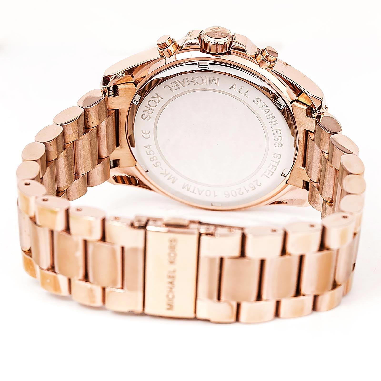 6a21f84fd4170 Michael Kors Ladies Rose Gold Bradshaw Chronograph Watch MK5854