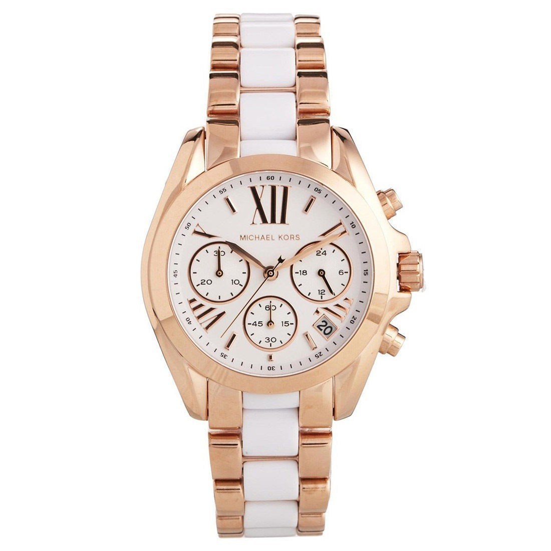 7785a30dd5ee Michael Kors Ladies Rose Gold   white Bradshaw Chronograph ...