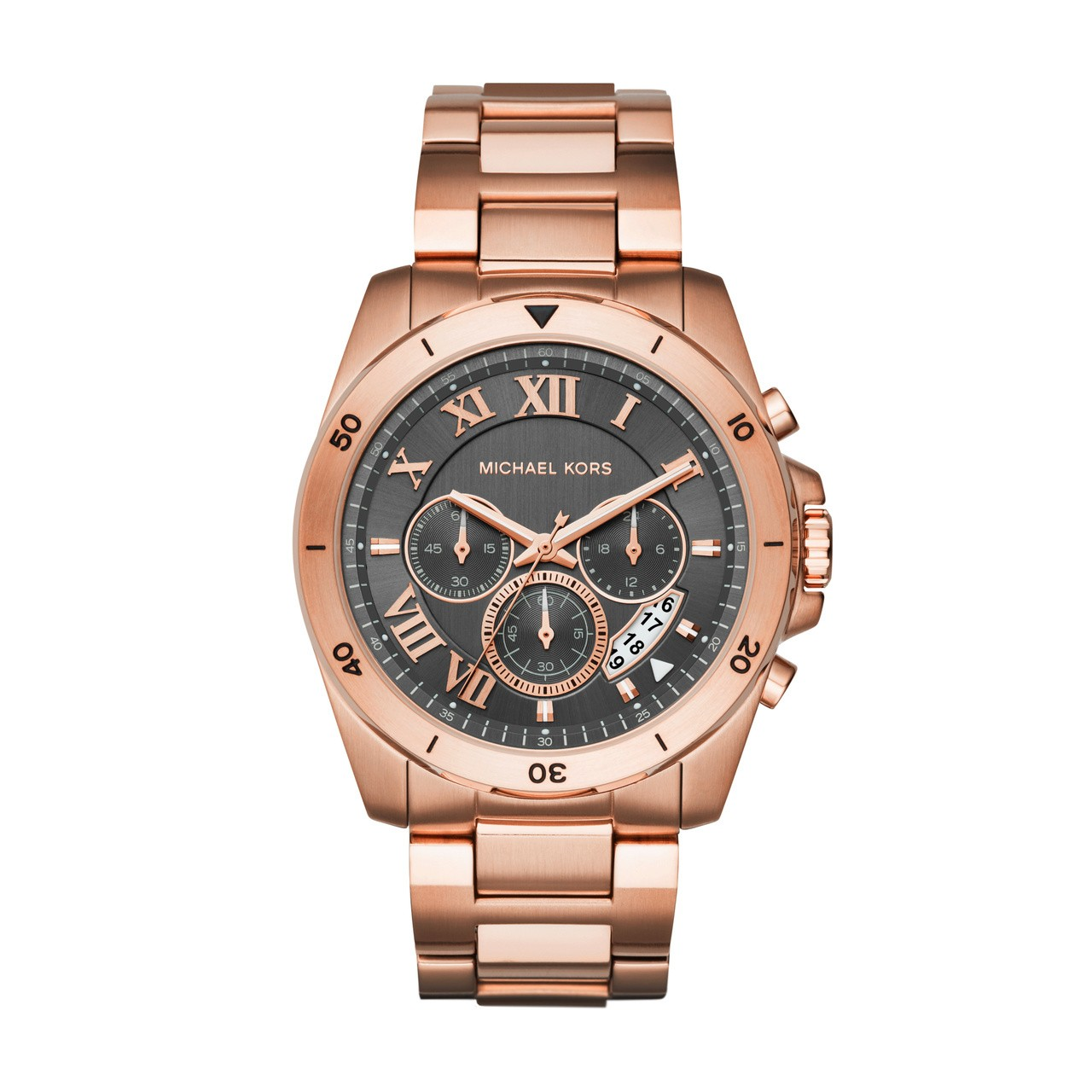 8c76b66fd3e9 Michael Kors Mens Chronograph Rose Gold Brecken Watch MK8563