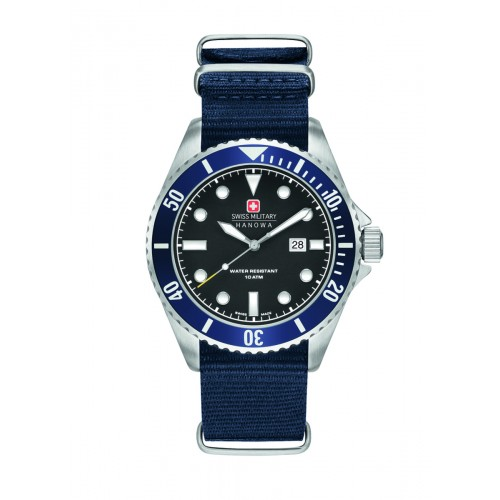 SWISS MILITARY SEA LION BLUE NYLON STRAP BLACK DIAL 6-4279.04.007.03