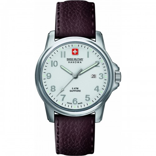 SWISS MILITARY SWISS SOLDIER PRIME BROWN STRAP STAINLESS STEEL CASE WHITE DIAL 6-4231.04.001