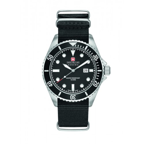 SWISS MILITARY SEA LION BLACK NYLON STRAP BLACK DIAL 6-4279.04.007.07