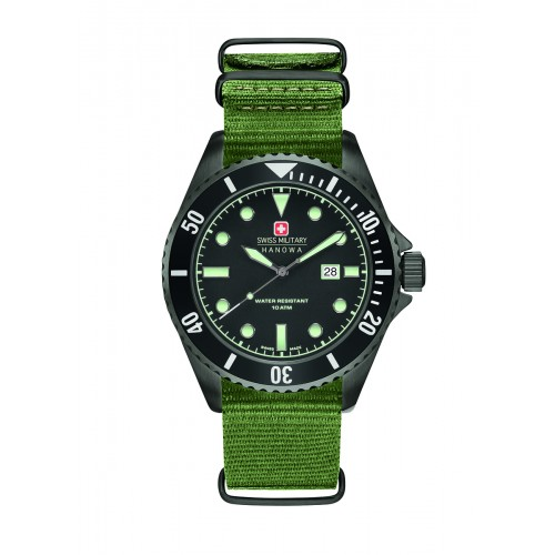 SWISS MILITARY SEA LION GREEN NYLON STRAP BLACK DIAL 6-4279.13.007