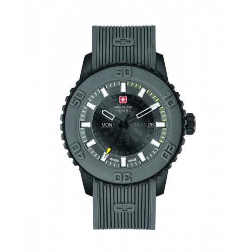 SWISS MILITARY TWILIGHT GREY SILICONE STRAP GREY DIAL 6-4281.27.007.30