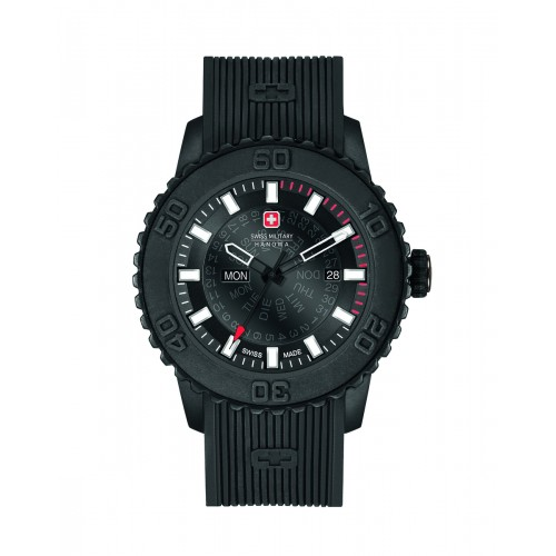 SWISS MILITARY TWILIGHT BLACK SILICONE STRAP BLACK DIAL 6-4281.27.007