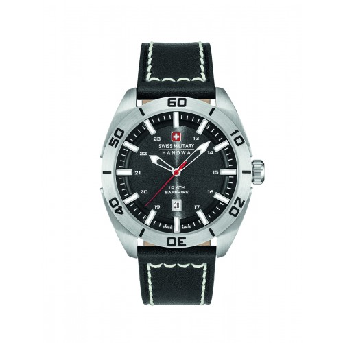 SWISS MILITARY CHAMP BLACK LEATHER STRAP BLACK DIAL 6-4282.04.007