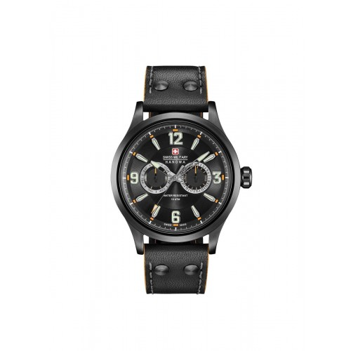 Swiss Military Undercover Black Leather Strap with Black Multi Dial 06-4307.30.007
