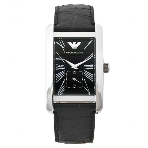 Emporio Armani Mens Black Leather Rectangle Watch AR0143