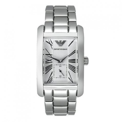 Emporio Armani Mens Stainless Steel Rectangle Watch AR0145