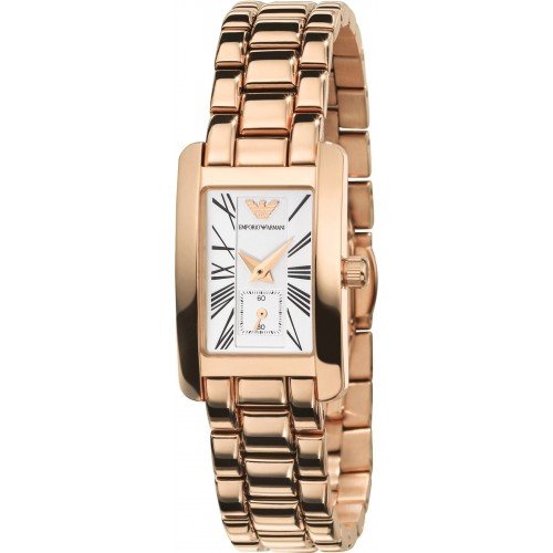 Emporio Armani Ladies Rose Gold Rectangle Watch AR0174