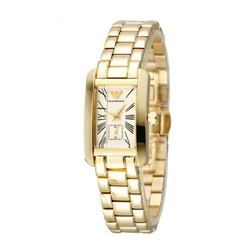 Emporio Armani Ladies Gold Rectangle Watch AR0175