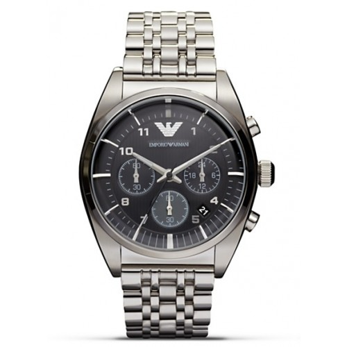 Emporio Armani Mens Classic Grey Stainless Steel Watch AR0374