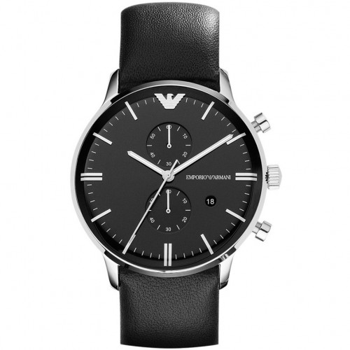 Emporio Armani Mens Black Leather Watch AR0397