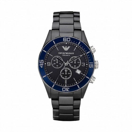 Emporio Armani Mens Black Ceramic Chrono Watch AR1429