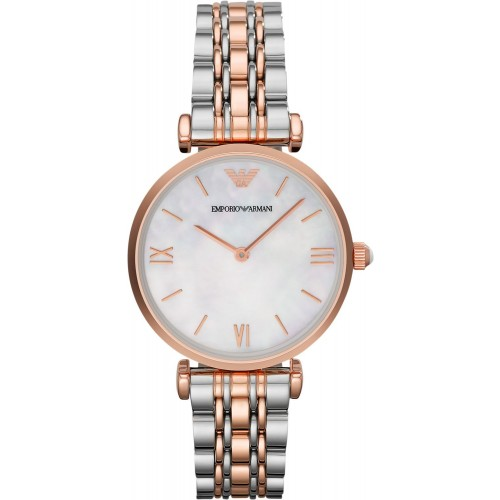 Emporio Armani Ladies Rose Gold & Silver Watch AR1683