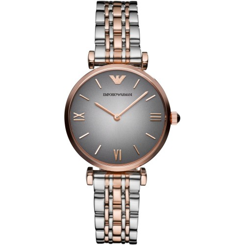 Emporio Armani Ladies 2 Tone Silver & Rose Watch AR1725