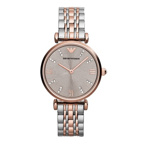 Emporio Armani Ladies Silver & Rose Gold Watch AR1840