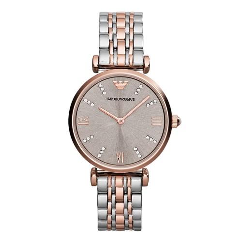 Emporio Armani Ladies Silver & Rose Gold Watch AR1840