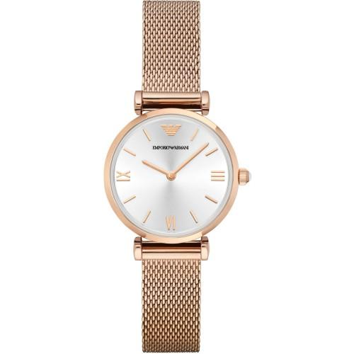 Emporio Armani Ladies Slim Mesh Rose Gold Watch AR1956
