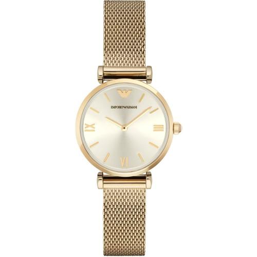 Emporio Armani Ladies Slim Mesh Gold Watch AR1957
