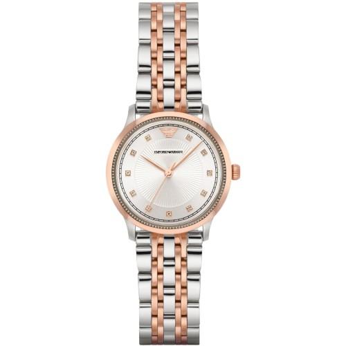 Emporio Armani Ladies Rose Gold & Silver Watch AR1962