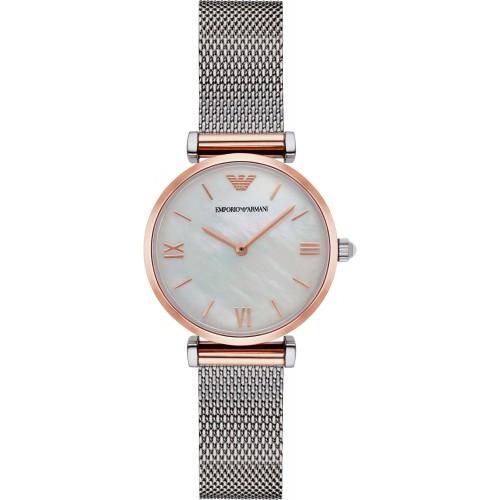 Emporio Armani Ladies Slim Rose Gold & Silver Mesh Watch AR2067