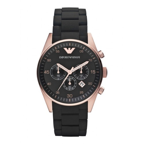 Emporio Armani Mens Rose Gold Rubber & Steel Watch AR5905