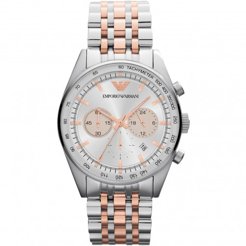 Emporio Armani Mens Rose & Silver Chronograph Watch AR5999