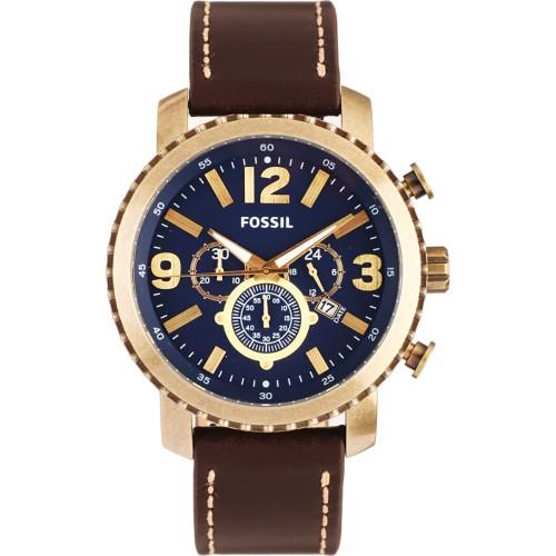 Fossil Mens Gauge Brown Leather Watch BQ2102