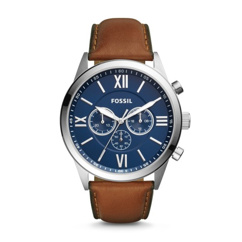 Fossil Mens Flynn Chronograph Brown Leather Watch BQ2125
