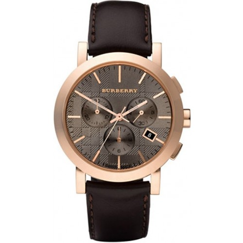 Burberry Mens Brown Leather Rose Gold Watch BU1863