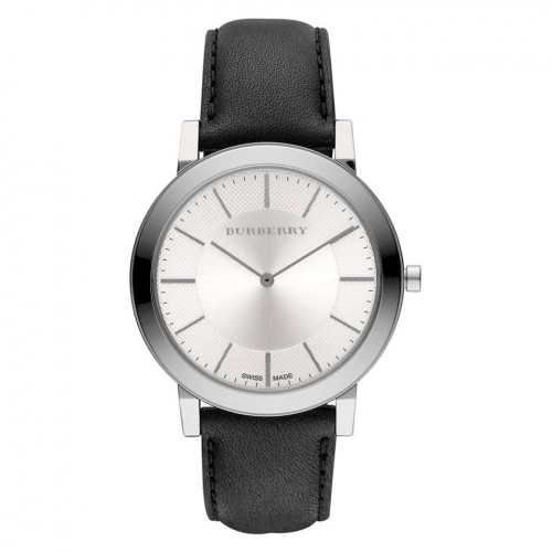 Burberry Mens Black & Silver Leather Watch BU2350