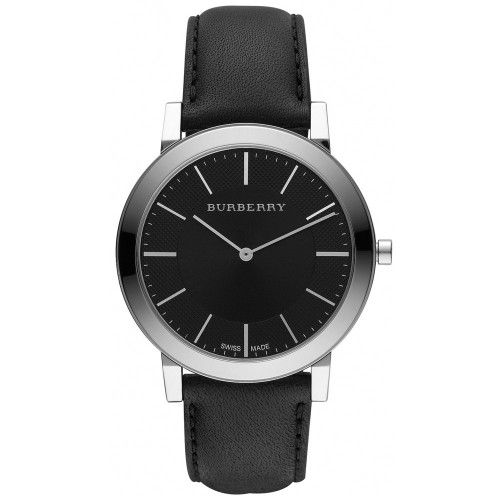 Burberry Mens Black & Silver Leather Watch BU2351