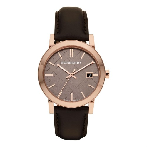 Burberry Mens The City Black Leather Watch BU9013