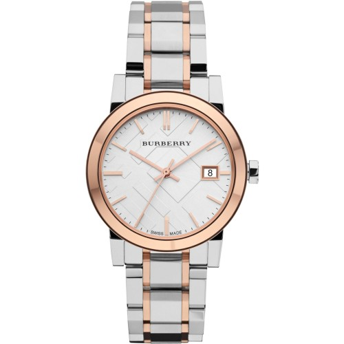 Burberry Ladies The City Rose Gold & Silver Watch BU9105