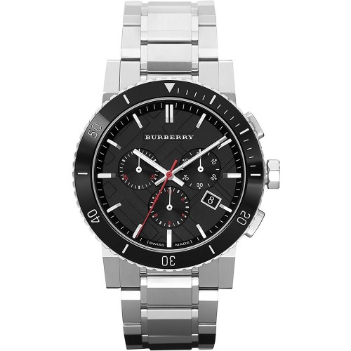 Burberry Mens Black Chronograph Silver Watch BU9380