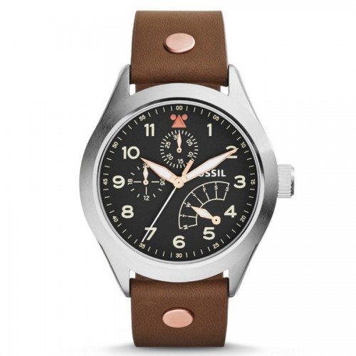 Fossil Mens Aeroflite Brown Leather Watch CH2939
